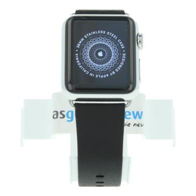 Apple Watch (Gen. 1) 38mm carcasa inoxidable plata con correa clásica de piel negro Acero inoxidable plata - nuevo