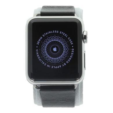 Apple Watch (Gen. 1) 38mm carcasa inoxidable plata con Modernes carcasa inoxidable con correa de piel negro Acero inoxidable plata - nuevo