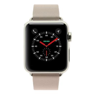 Apple Watch - boîtier en acier inoxydable 38mm - bracelet en cuir moderne rose - acier inoxydable argent - Neuf