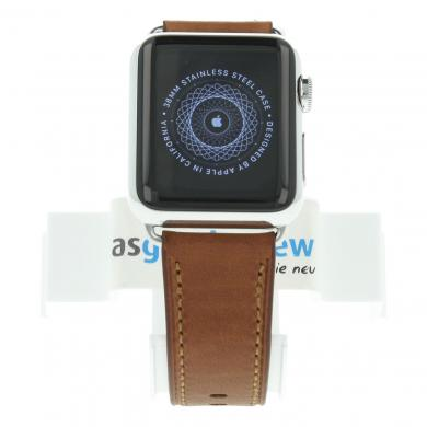 Apple Watch (Gen. 1) 38mm Edelstahlgehäuse Silber mit modernem Lederarmband Braun Edelstahl Silber - neu