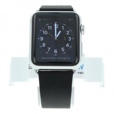 Apple Watch (Gen. 1) 42mm carcasa inoxidable plata con carcasa inoxidable con correa de piel negro Acero inoxidable plata - nuevo