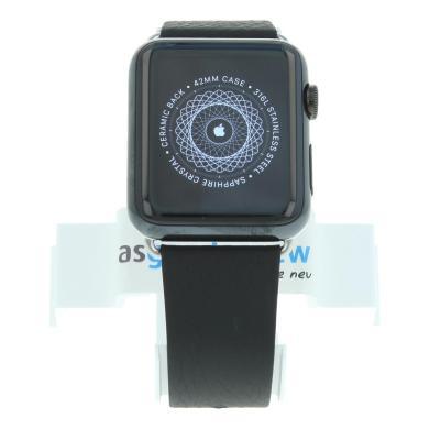 Apple Watch (Gen. 1) 42mm Edelstahlgehäuse Silber mit Lederarmband Schwarz Edelstahl Spaceschwarz - neu