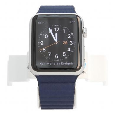 Apple Watch (Gen. 1) 42mm carcasa inoxidable plata con Correa de cuero con hebilla azul Acero inoxidable plata - nuevo