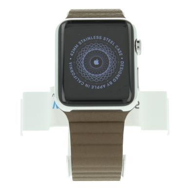 Apple Watch (Gen. 1) 42mm carcasa inoxidable plata con  LederCorrea con  Schlaufe marrón Plata - nuevo