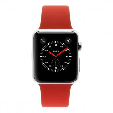 Apple Watch 38mm mit Sportarmband rot Aluminium Silber - gut