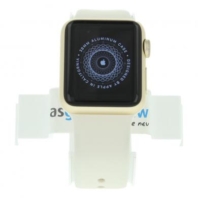 Apple Watch Sport Series 1 - boîtier en aluminium or 38mm - bracelet sport blanc - aluminium or - Neuf