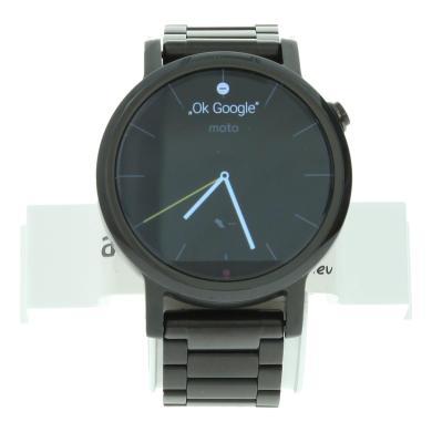 Motorola Moto 360 (Gen. 2) - boîtier en acier inoxydable argent 42mm - bracelet en cuir noir - Neuf