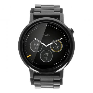 Motorola Moto 360 (2nd Gen) 46mm carcasa inoxidable con correa de metal negro - buen estado