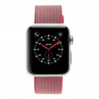 Apple Watch Sport 38mm mit Nylon-Armband pink aluminium silber - gut