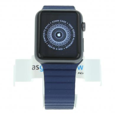 Apple Watch Sport (Gen. 1) 42mm Aluminiumgehäuse Spacegrau mit Lederarmband mit Schlaufe Blau Aluminium Spacegrau - gut