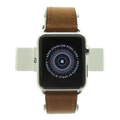 Apple Watch (Gen. 1) 42mm Edelstahlgehäuse Spaceschwarz mit klassischem Lederarmband Braun Edelstahl Silber - neu