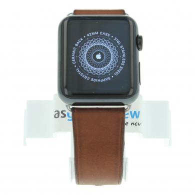 Apple Watch (Gen. 1) 42mm carcasa inoxidable negro con correa clásica de piel marrón Negro - nuevo