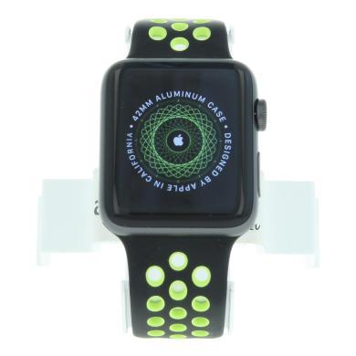 Apple Watch Series 2 - boîtier en aluminium gris sidéral 42mm - bracelet sport Nike+ noir/Volt gris foncé - aluminium gris sidéral - Neuf