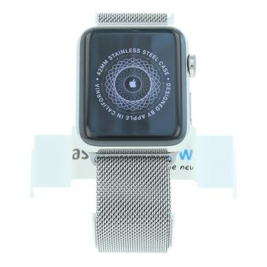 Apple Watch Series 2 Coque en acier inoxidable 42mm avec bracelet milanais argent acier inoxydable argent - Neuf