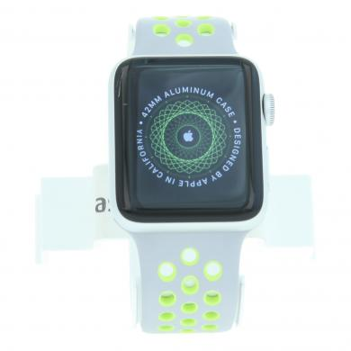 Apple Watch (Series 2) 42mm Aluminiumgehäuse Silber mit Nike+ Sportarmband Silber/Volt Aluminium Silber - neu