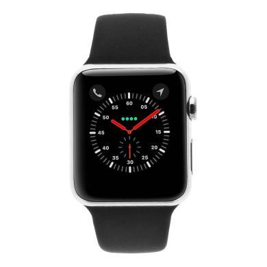 Apple Watch Series 1 Coque en acier inoxidable argent 42mm avec Bracelet sport noir acier inoxydable argent - Neuf