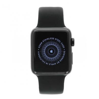 Apple Watch Series 2 Edelstahlgehäuse schwarz 42mm mit Sportarmband schwarz Edelstahl Spaceschwarz