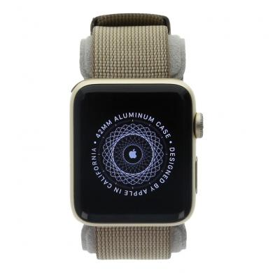 Apple Watch Series 2 carcasa de aluminiooro 42mm con correa de nailon marrón/marrón Aluminio en oro - muy bueno