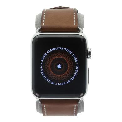 Apple Watch Series 2 Hermès Edelstahlgehäuse silber 42mm mit Single Tour Barenia-Lederarmband Fauve edelstahl silber - neu