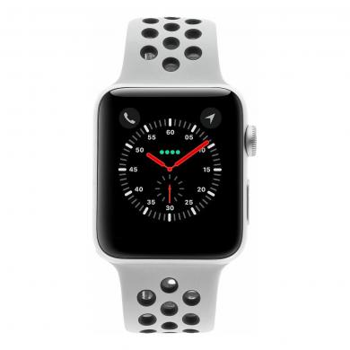 Apple Watch Series 3 Aluminiumgehäuse silber 42mm mit Nike Sportarmband pure platinum / schwarz (GPS) aluminium silber - neu