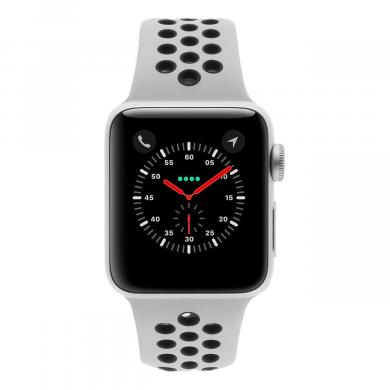 Apple Watch Series 3 Aluminiumgehäuse silber 38mm mit Nike Sportarmband pure platinum / schwarz (GPS) aluminium silber - neu