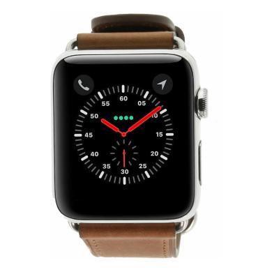 Apple Watch Series 2 - boîtier en acier inoxidable argent 42mm - bracelet en cuir classique marron - Neuf