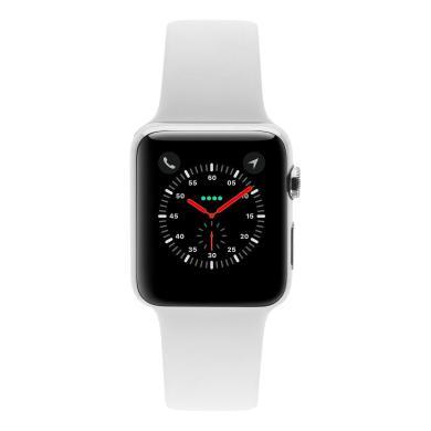 Apple Watch Series 1 Edelstahlgehäuse silber 42mm mit Sportarmband weiss edelstahl weiss - neu