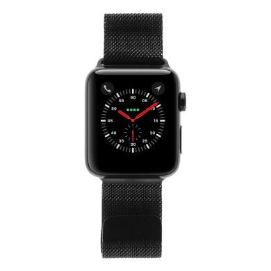 Apple Watch Series 3 Edelstahlgehäuse schwarz 42mm mit Milanaise-Armband schwarz (GPS + Cellular) edelstahl spaceschwarz - neu