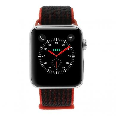 Apple Watch Series 3 Aluminiumgehäuse silber 42mm mit Nike+ Sport Loop rot/schwarz (GPS + Cellular) aluminium silber - neu