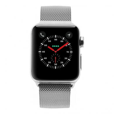 Apple Watch Series 3 - boîtier en acier inoxydable argent 38 mm - bracelet milanais en argent (GPS+Cellular) - Neuf