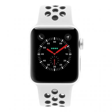 Apple Watch Series 3 Aluminiumgehäuse silber 38mm mit Nike+ Sportarmband pure platinum/schwarz (GPS + Cellular) aluminium silber - neu