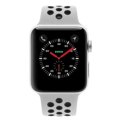 Apple Watch Series 3 Aluminiumgehäuse silber 42mm mit Nike+ Sportarmband pure platinum/schwarz (GPS+Cellular) aluminium silber - neu