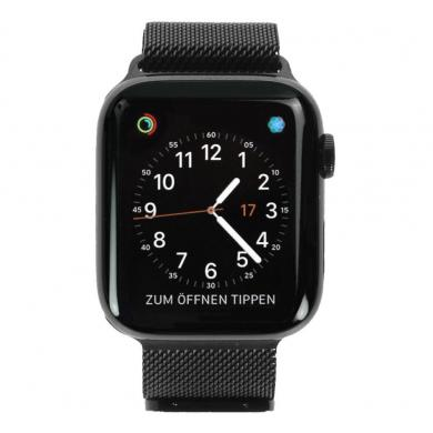 Apple Watch Series 4 - caja de acero inoxidable en negro 44mm - pulsera Milanese negra (GPS+Cellular) - nuevo