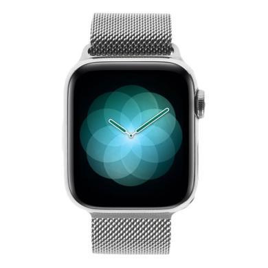 Apple Watch Series 4 - boîtier en acier inoxydable en argent 40mm - bracelet milanais en argent (GPS+Cellular) - Neuf