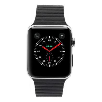 Apple Watch Series 2 Edelstahlgehäuse silber 42mm Lederarmband mit Schlaufe mitternachtsblau Edelstahl silber - neu