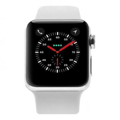Apple Watch Series 2 - caja de acero inoxidable en plata 38mm - correa deportiva blanca - buen estado