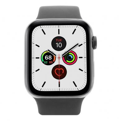 Apple Watch Series 5 - caja de acero inoxidable en negro 44mm - correa sport negra (GPS+Cellular) - buen estado