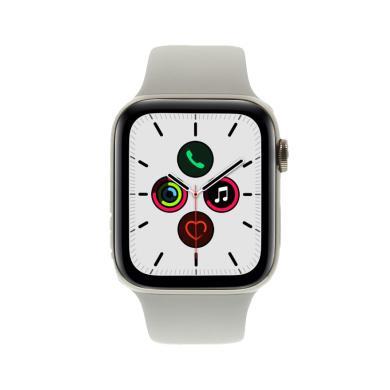 Apple Watch Series 5 Edelstahlgehäuse gold 44mm mit Sportarmband steingrau (GPS Cellular) gold