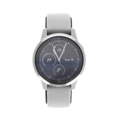 Garmin Vivoactive 4S - boîtier en acier inoxydable gris 40mm - bracelet en silicone gris - Neuf