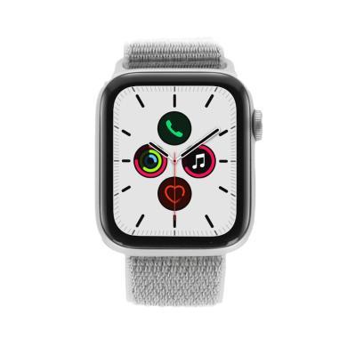 Apple Watch Series 5 Aluminiumgehäuse silber 44mm mit Sport Loop eisengrau (GPS Cellular) silber