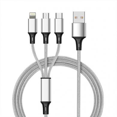 3in1 Multi USB Kabel Typ-C Lightning Micro USB 1,2m -ID18114 silber