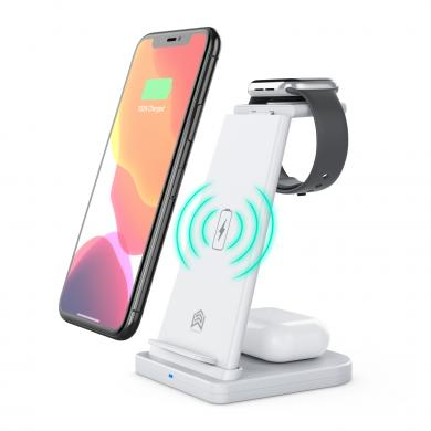 3in1 kabellose Ladestation für Apple Watch / AirPods / iPhone und Samsung -ID18161 weiß