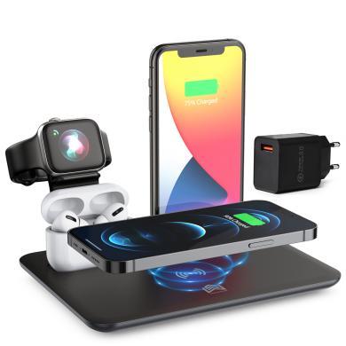 4in1 kabellose Ladestation für Apple Watch / AirPods / iPhone Samsung Huawei und Mehr -ID18227 schwarz