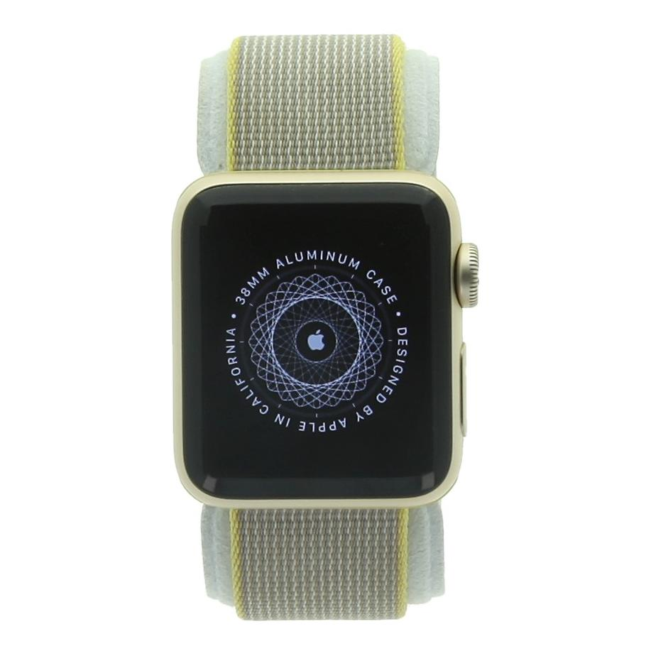 Apple Watch Series 2 Aluminiumgehäuse gold 38mm mit Nylonarmband gelb/hellgrau aluminium gold - gut