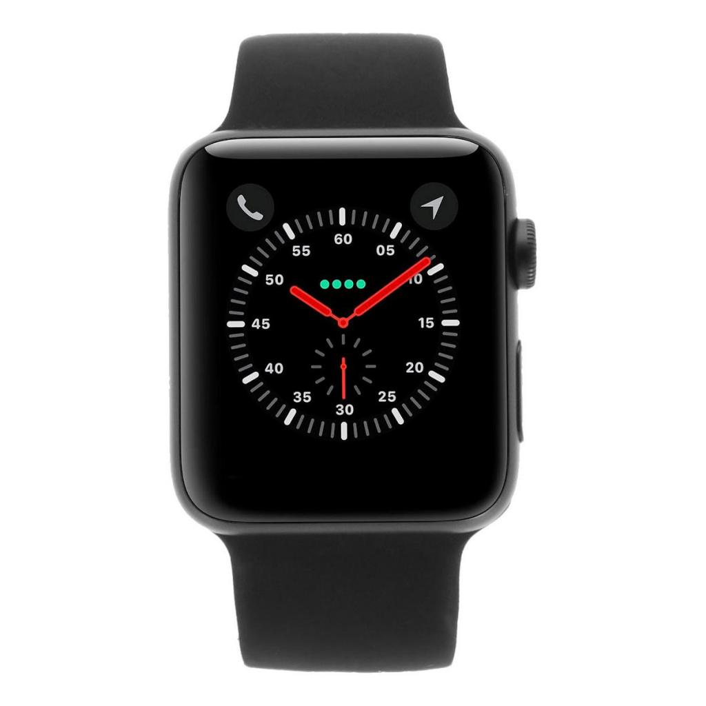 Apple Watch Series 3 - caja de aluminio en gris 42mm - correa deportiva negra (GPS+Cellular) - buen estado