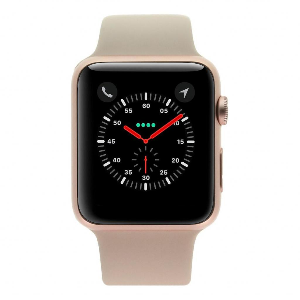 Apple Watch Sport 42mm - boîtier en aluminium or/rose - bracelet sport rose des sables/rose - Neuf