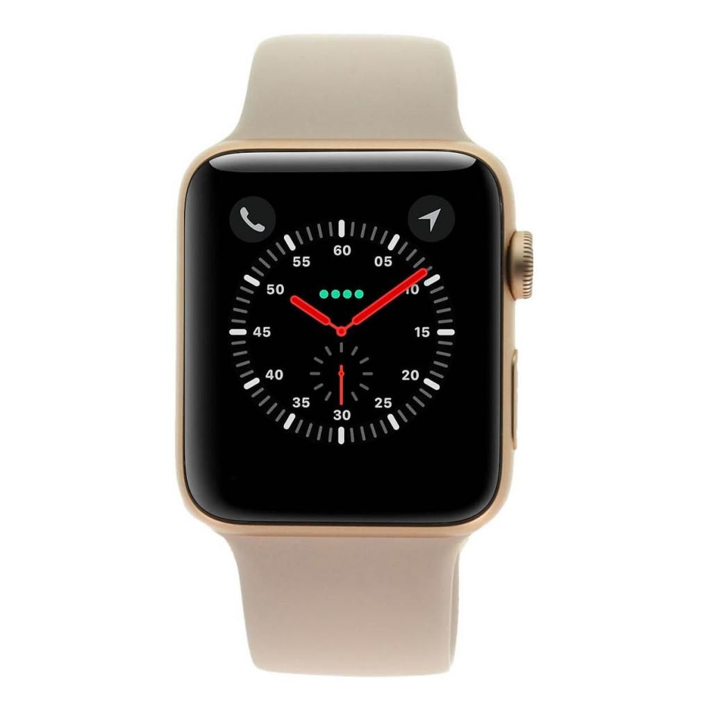 Apple Watch Series 3 Aluminiumgehäuse rosegold 42mm mit Sportarmband sandrosa (GPS + Cellular) aluminium rosegold - gut