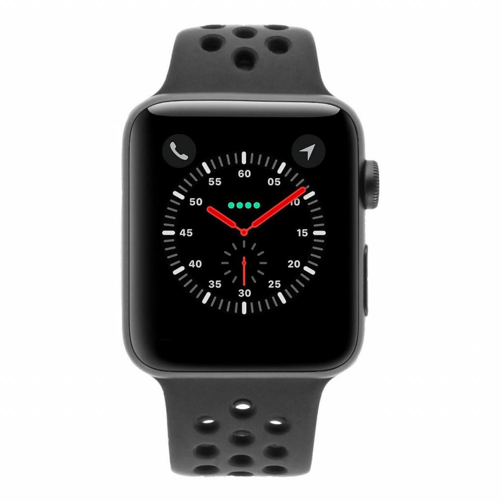Apple Watch Series 3 Aluminiumgehäuse grau 42mm mit Nike Sportarmband anthrazit / schwarz (GPS + Cellular) aluminium grau - gut