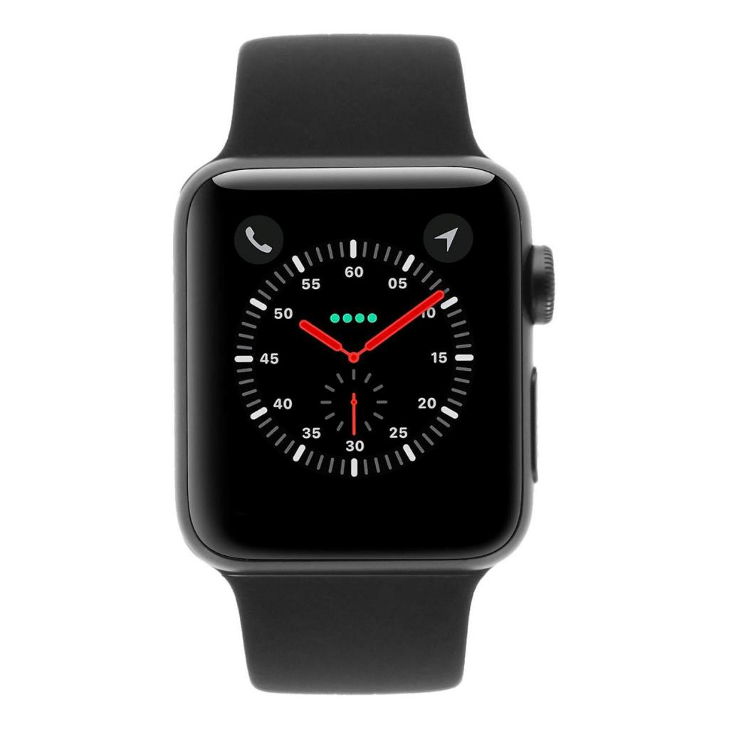 Apple Watch Series 3 - boîtier en aluminium gris 38mm - bracelet sport noir (GPS+Cellular) - Neuf