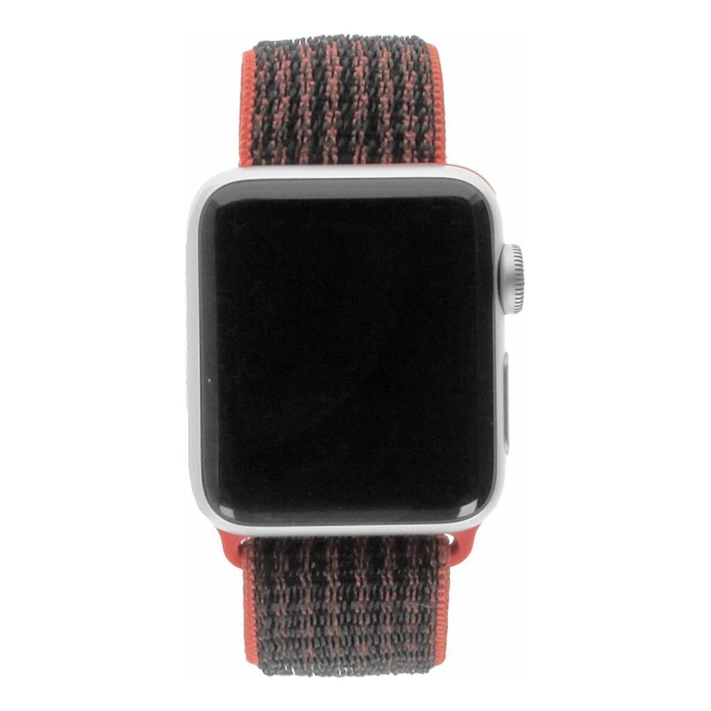 Apple Watch Series 3 Aluminiumgehäuse silber 38mm mit Nike+ Sport Loop rot/schwarz  (GPS + Cellular) aluminium silber - neu